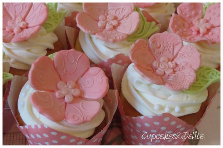 Pink Embossed Flower Cupcakes
