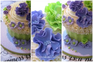 Giant Cupcake Cake with Ruffle Flowers
