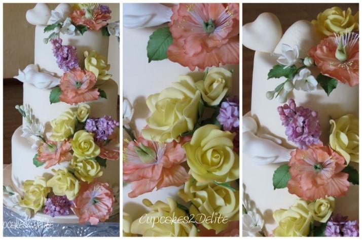 Floral Cascade Wedding Cake