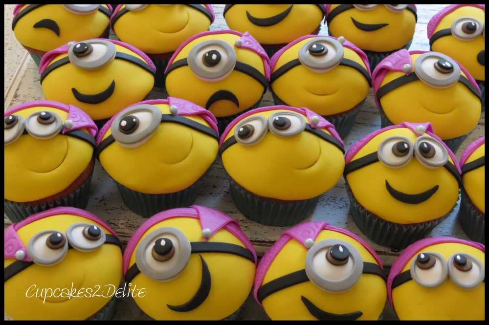 Minion Cupcakes in Party Hats
