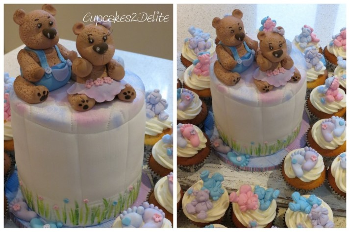 Twin Teddy Baby Shower Cake & Cupcakes