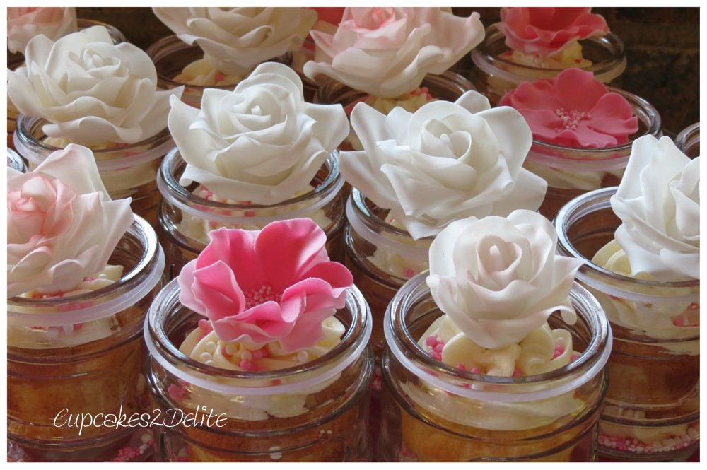 Cupcakes in Jar with Roses and Flowers