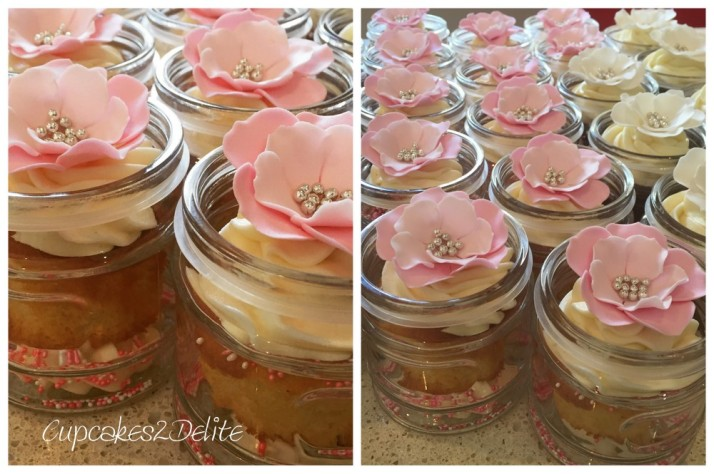 Cupcakes in A Jar, Pink & White Flowers
