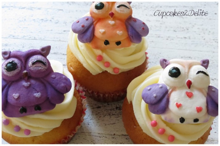 Owl Cupcakes using silicone mould