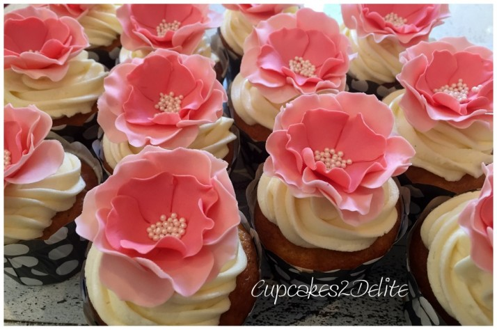 Coral Flower Cupcakes