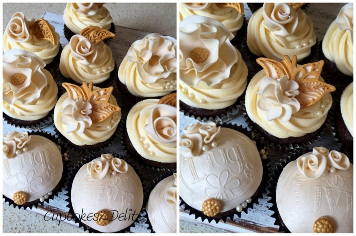Cream & Gold Flower Cupcakes
