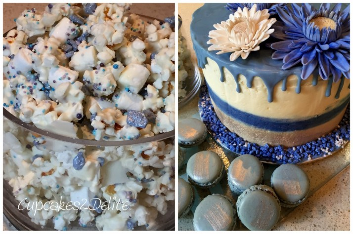 Blue Drizzle Cake, Blue Macarons, Blue & White Popcorn