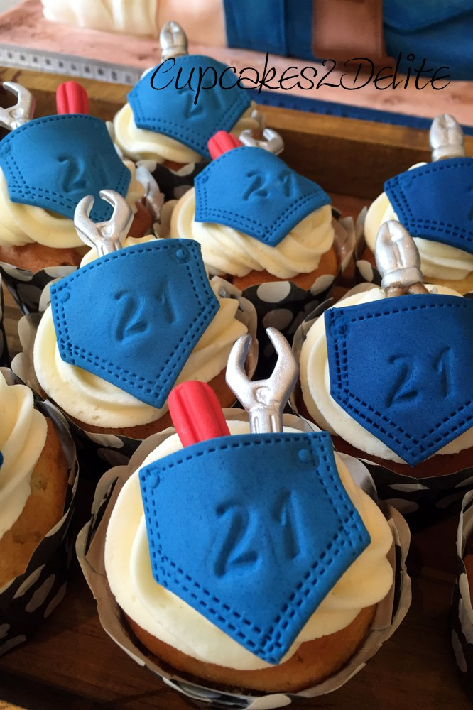 Denim & Plumbing Themed Cupcakes