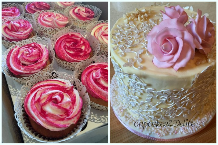 Rose Iced Cupcakes & Rose Lace Cake