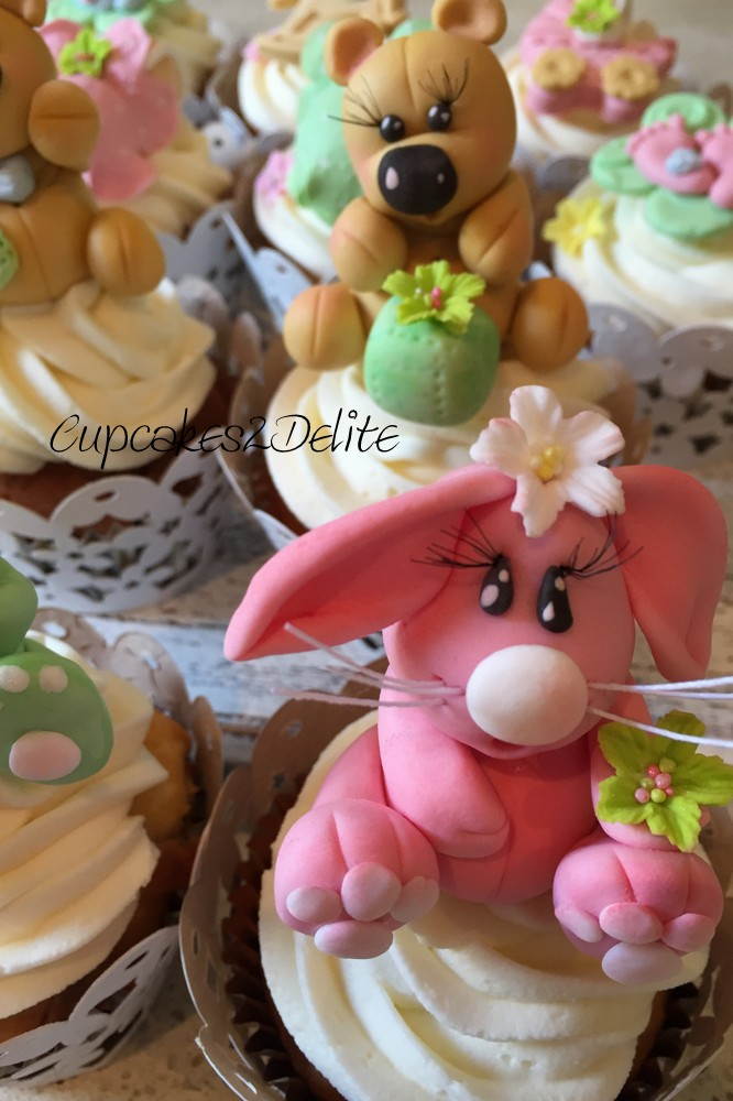 Stork Party Cupcakes with Sugar Paste Rabbits