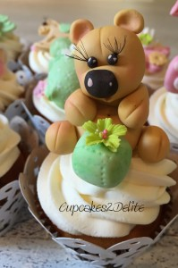 Stork Party Cupcakes with Sugar Paste Teddies