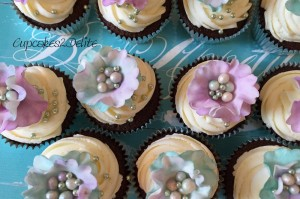 Dragonfly Kissed Flower Cupcakes
