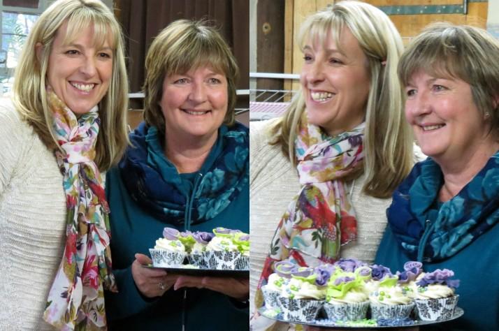 Green & Purple Ruffle Flower Cupcakes