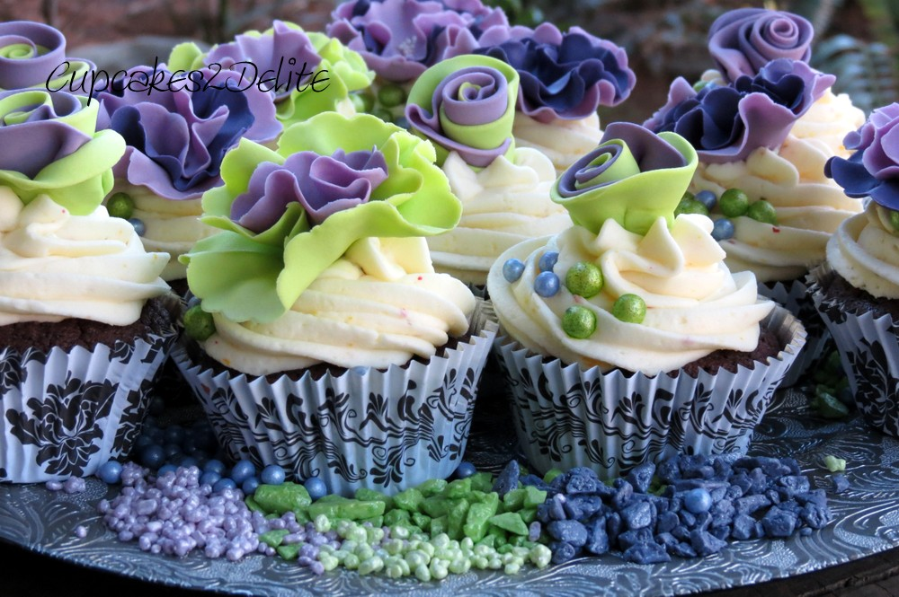 Green & Purple Ruffle Flower Cupcakes