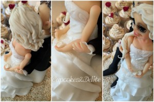 Cream & Burgundy Wedding Cake & Cupcakes