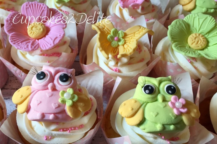 Owl, Flower & Butterfly Cupcakes