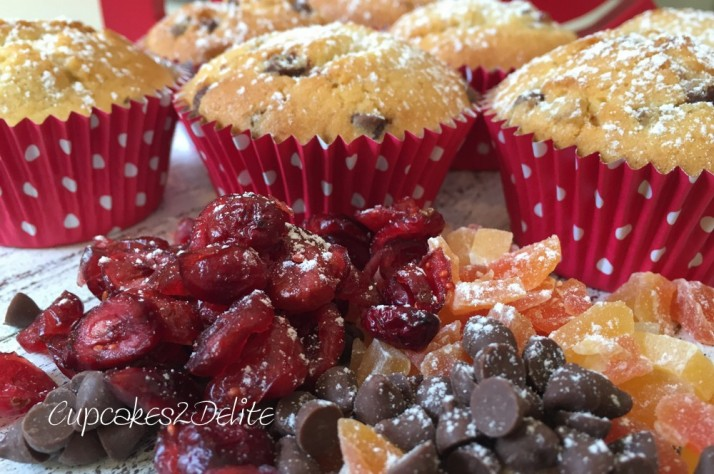 Christmas Cranberry, Fruit & Chocolate Cupcakes