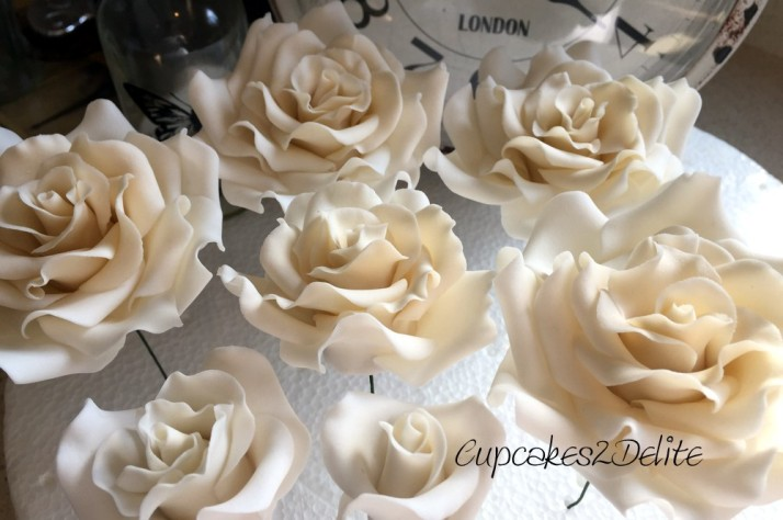Sugar Paste Roses in Mother of Pearl
