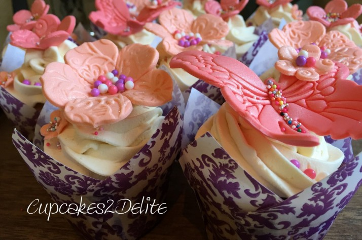 Coral Butterfly & Flower Cupcakes