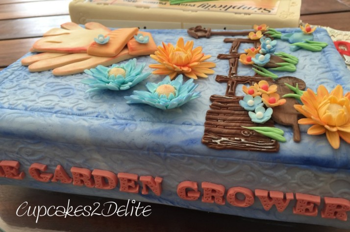 Travelling, Sewing & Gardening Book Cake