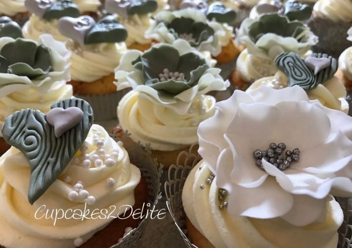 Olive Green, Grey & White Wedding Cupcakes