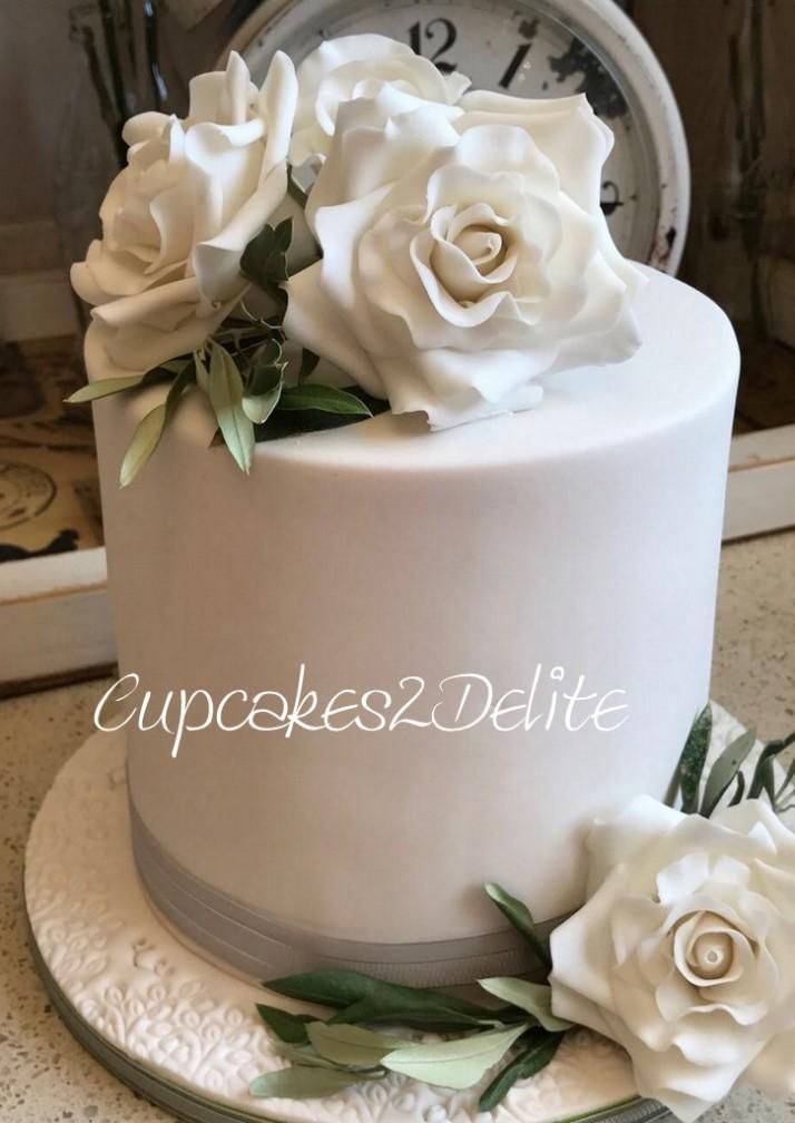 Roses and Olive Leaf Wedding Cake