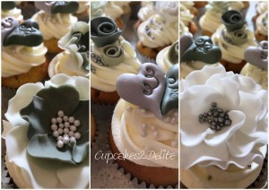 Olive Green, Grey & White Wedding Cupcakes