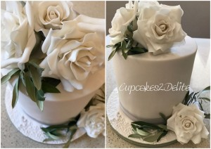 Roses and Olive Leaf Wedding Cake
