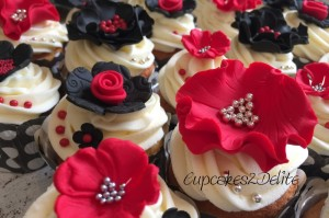 Red & Black Flower Cupcakes