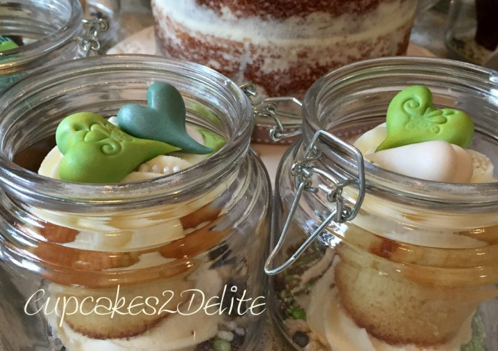 Nature Themed Wedding Cupcakes in a Jar