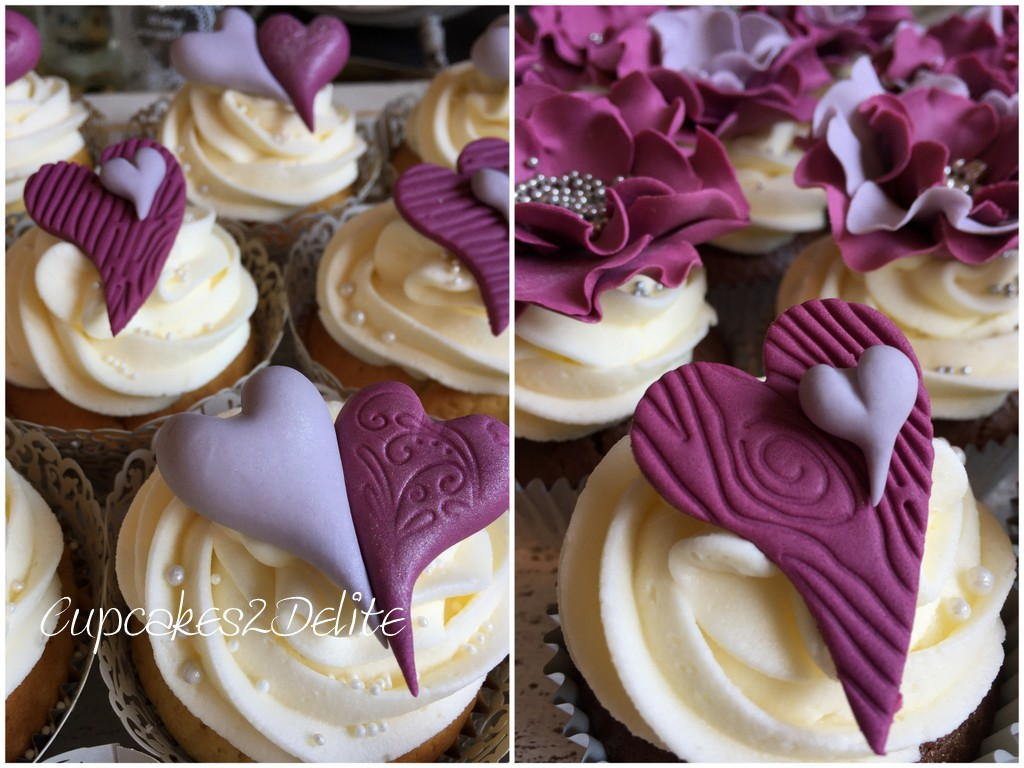 Sangria & Grey Flower & Heart Wedding Cupcakes