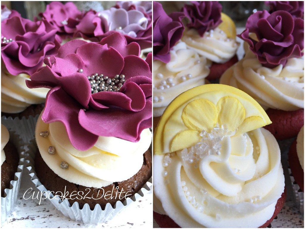 Sangria Flowers & Lemon Wedges Wedding Cupcakes