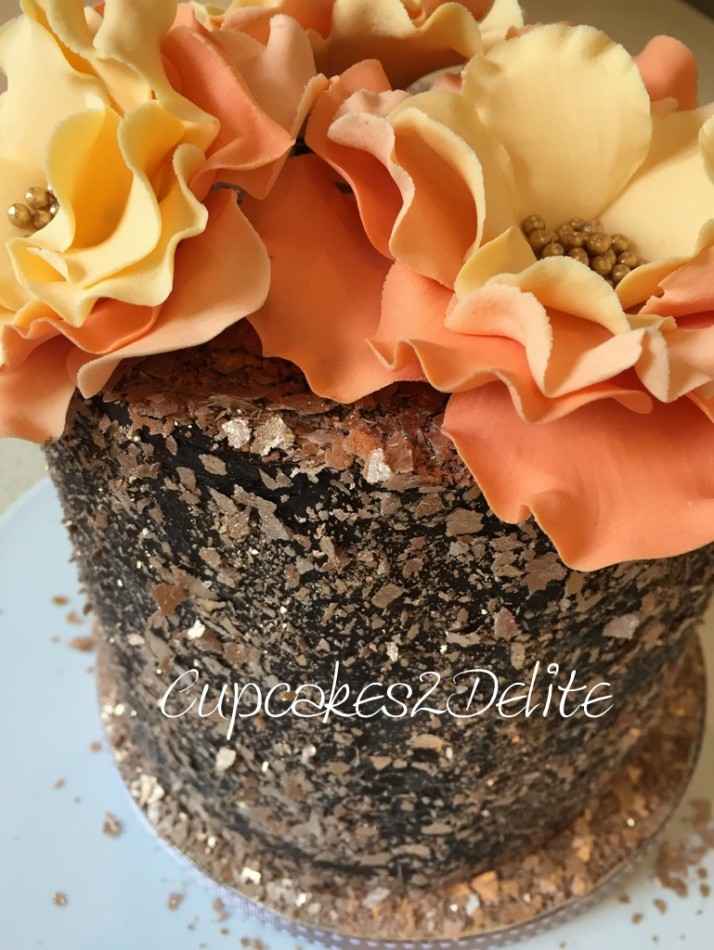 Orange Ruffle Flower Cake