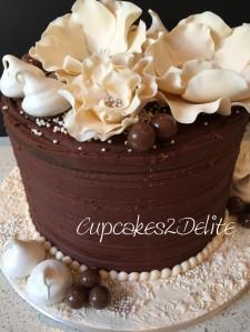 Chocolate Delight & Cream Flowers 80th Cake