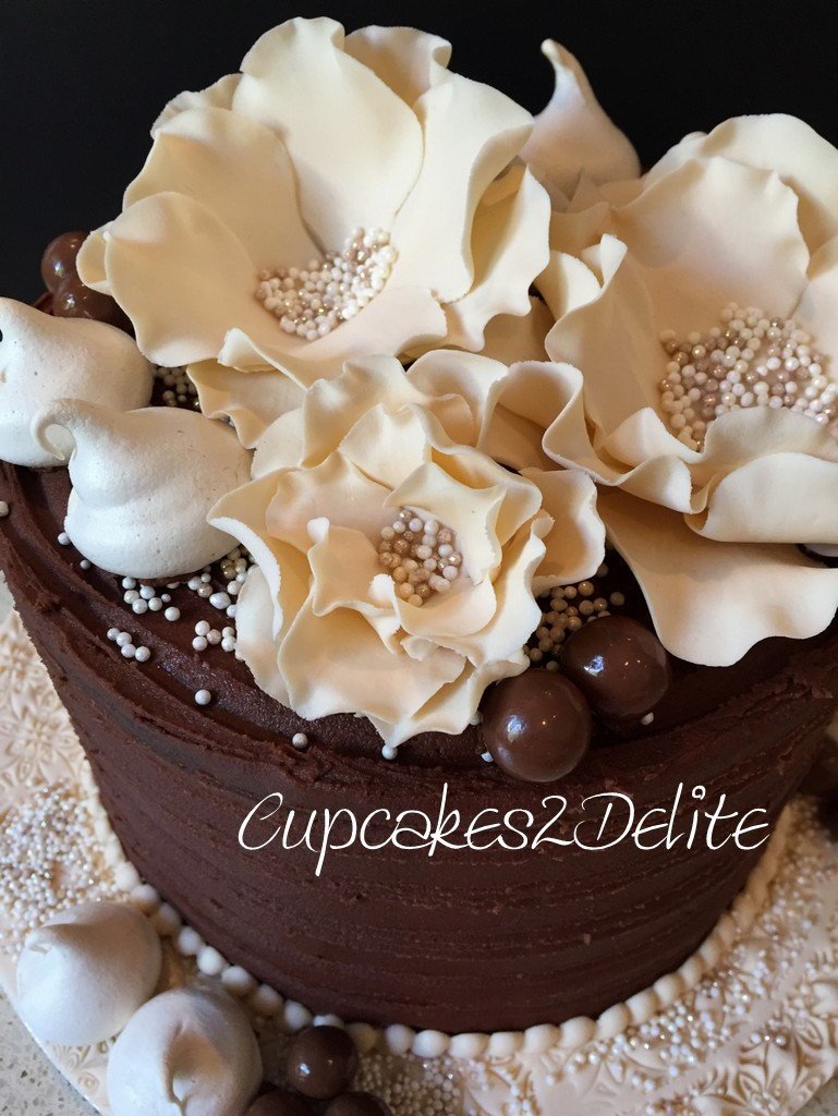 Chocolate Delight & Cream Flowers 80th Cake