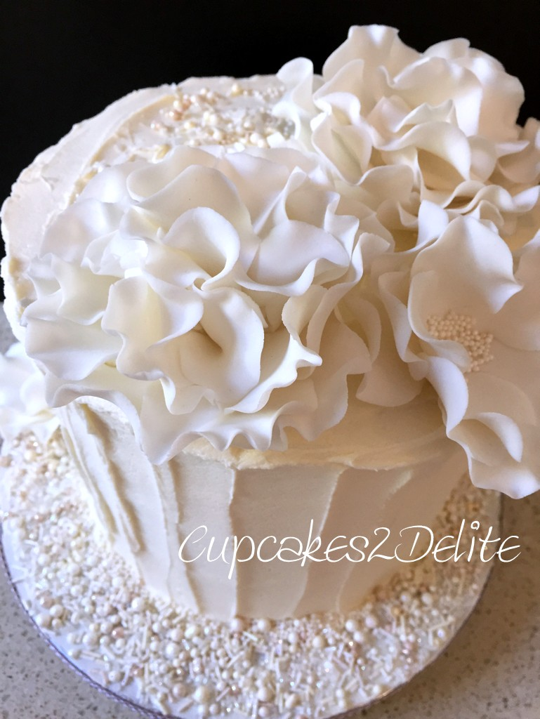 White Ruffle Flower Birthday Cake