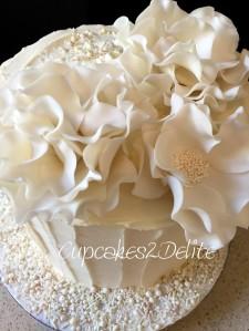 White Ruffle Flower Birthday Cake