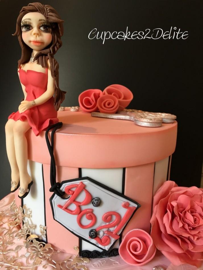 21st Birthday Hat Box Cake