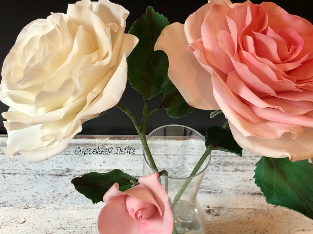 Pink & White Flower Paste Roses
