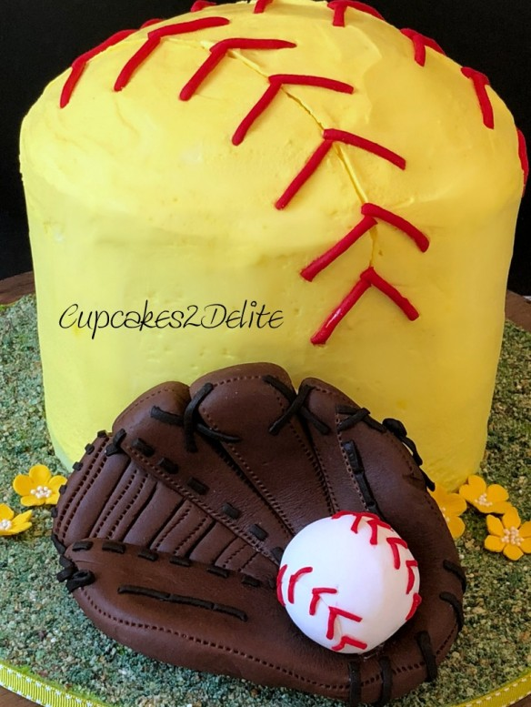 Sensational Softball Birthday Cake For Megan Cupcakes2Delite Funny Birthday Cards Online Alyptdamsfinfo