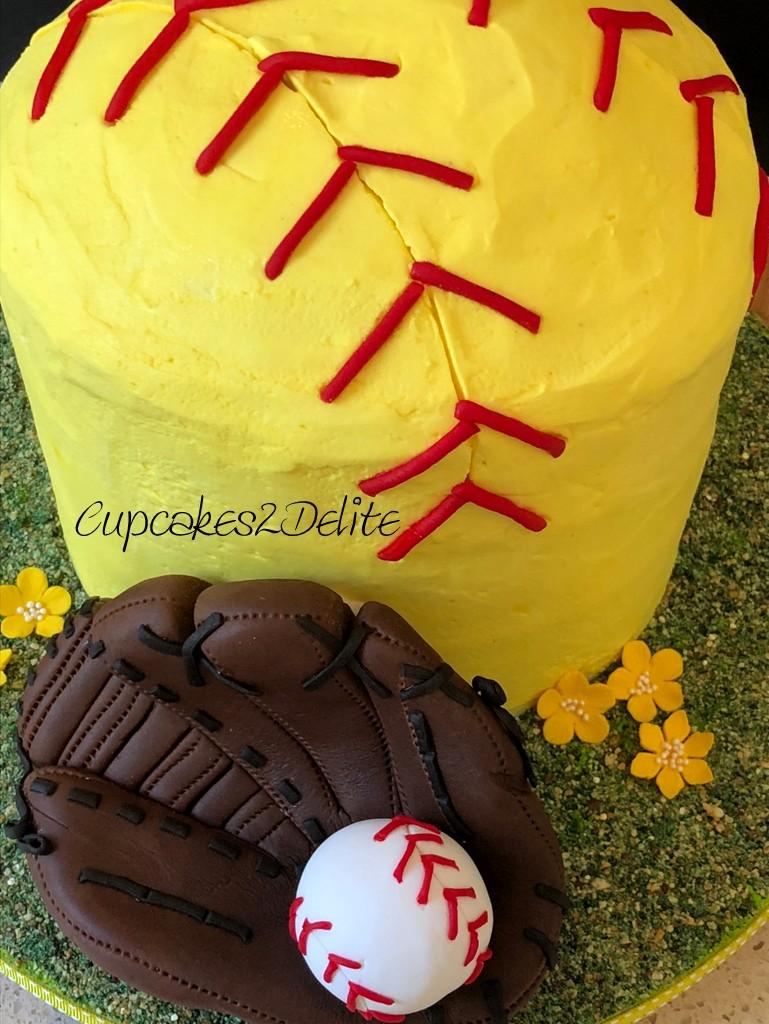 Awesome Softball Birthday Cake Cupcakes2Delite Personalised Birthday Cards Paralily Jamesorg