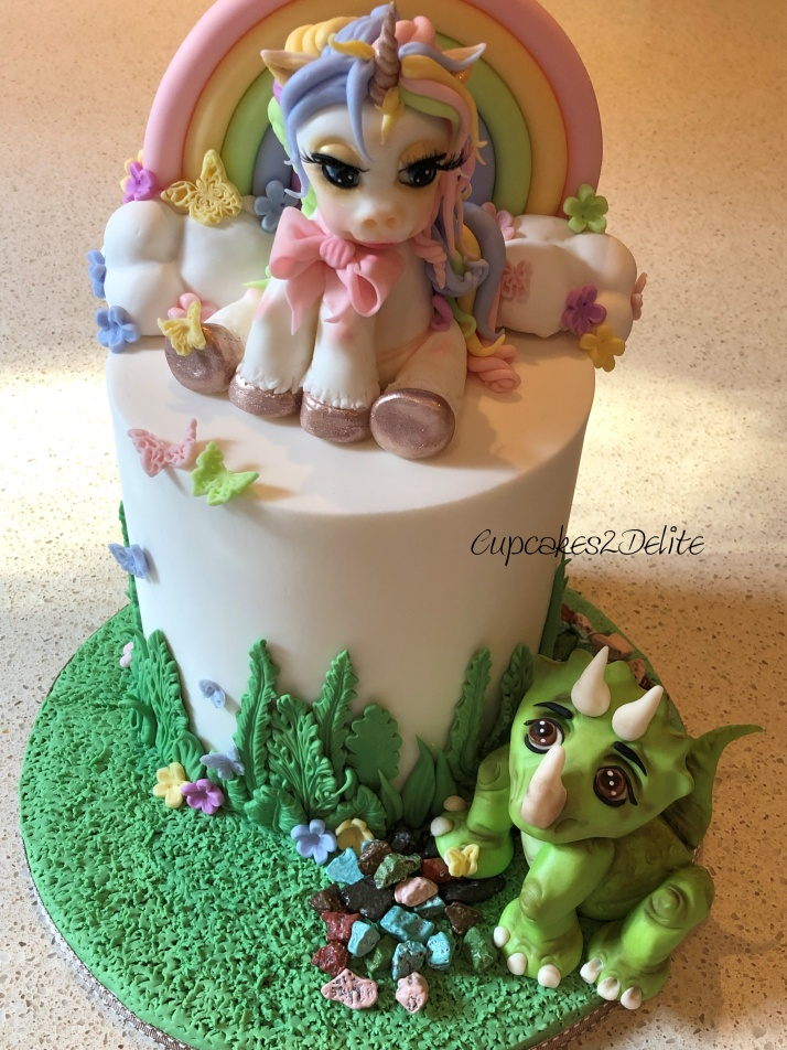 Unicorn & Triceratops Birthday Cake