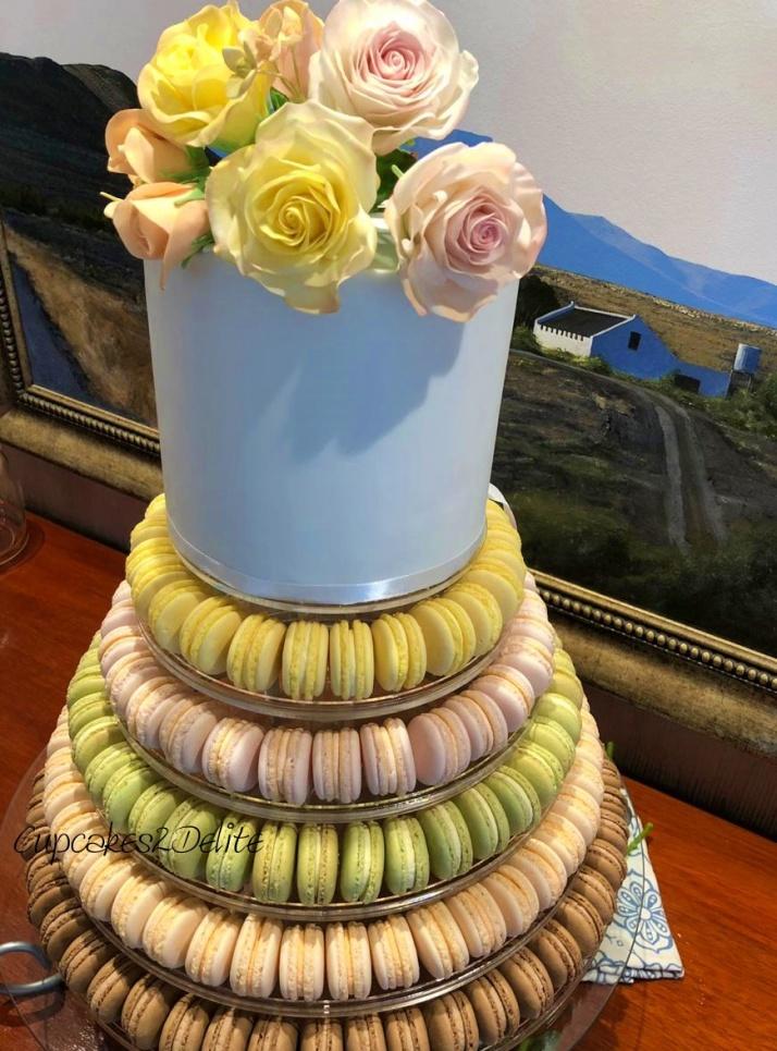 Rose Cake Macaron Tower