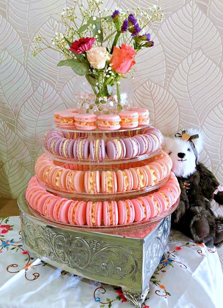 Pink Engagement Macarons